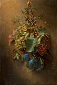 nature morte aux raisins by johann adalbert angermayer