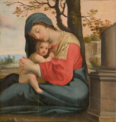vierge à l'enfant devant des ruines antiques by french school (17)