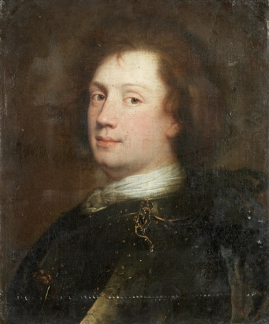 portrait of a man bust length in a white cravat and armour by alexis grimou
