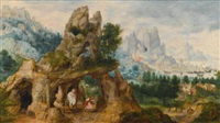 an extensive rocky landscape with the flight into egypt by herri met de bles