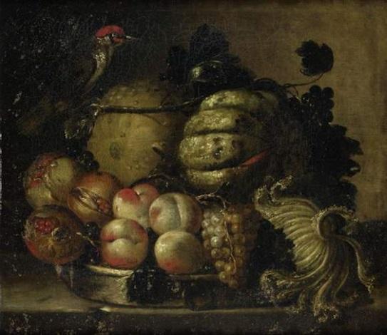 nature morte aux pêches et melon by giuseppe vincenzino