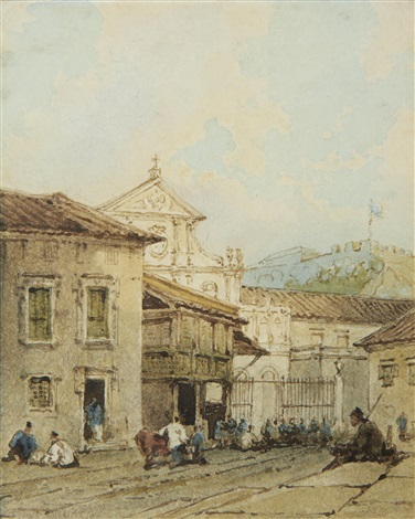 a street scene near são domingos church macau by george chinnery