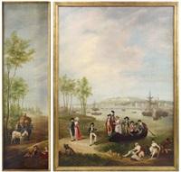 promeneurs devant le port de bayonne (+ la charrette de foin, various sizes; 2 works) by a.a. simons