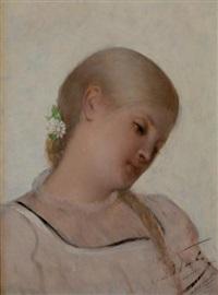 jeune fille à la marguerite by léon herbo