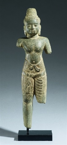 a sandstone figure of shiva. thailand, in the style of baphuon. late 11th century