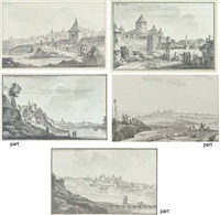 the entrance to the city of bender (+ 4 other views of bender; 5 works) by giacomo quarenghi