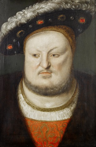 portrait of king henry viii 1491 1547 in a black coat a red tunic embroidered with gold and a black hat with ostrich feathers by dutch school 16