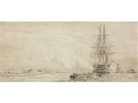 the victory entering dry dock by william lionel wyllie