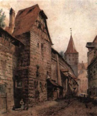 figures in a continental street (nuremberg?) by lorenz ritter