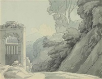 rome, going out from porta pia looking towards the sabine mountains by francis towne