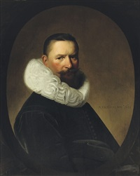 portrait of josias van herrewijn, in a black costume with a molensteenkraag, in a feigned oval stone window by johannes cornelisz verspronck