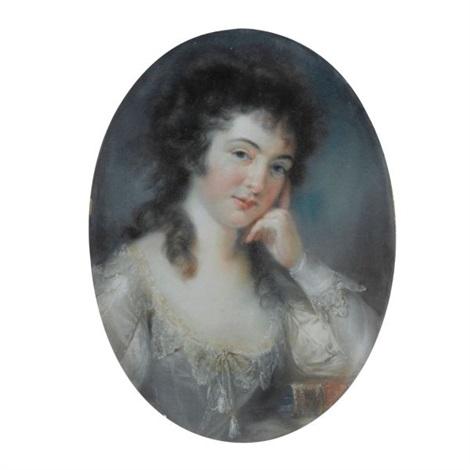 portrait de jeune fille accoudée sur un livre by john russell