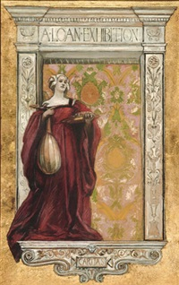 woman holding lute by columns and tapestry by edwin austin abbey