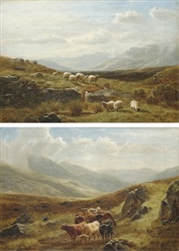 sheep grazing in a highland landscape (+ cattle watering in a highland landscape; pair) by william davies
