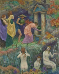 offrande aux nymphes, offering to the nymphs by rupert bunny