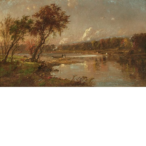 5be8bf0f257a River Landscape Landscape with Figures by Jasper Francis Cropsey on ...