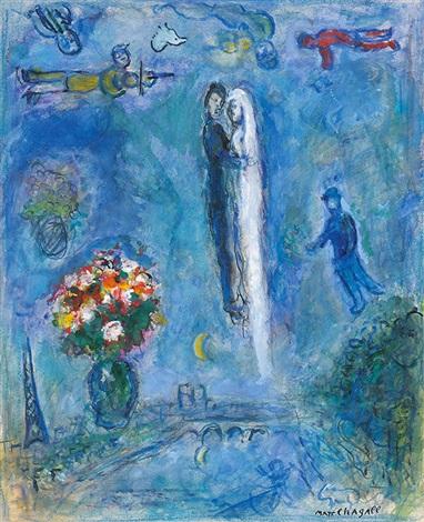 Les mariés dans le ciel de Paris by Marc Chagall on artnet