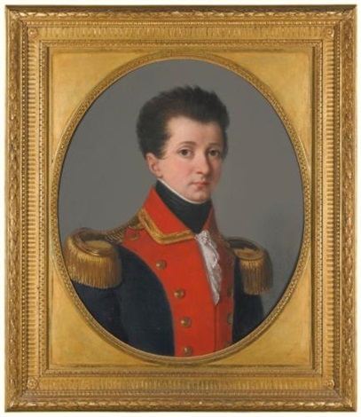 portrait of a young soldier bust length wearing military uniform by italian school piedmont 19