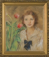 girl with tulips by teodor axentowicz