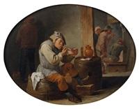 intérieur de taverne avec un fumeur by matheus van helmont