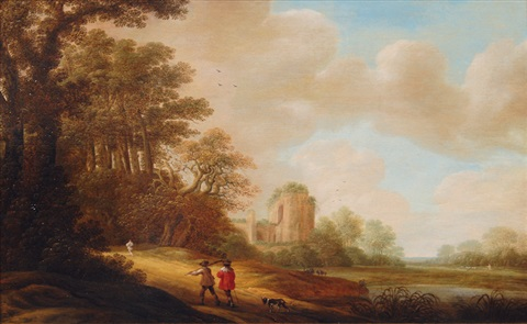 ideal landscape with ruins of a church by pieter jansz van asch