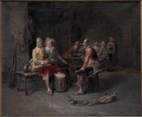 la partie de cartes des soldats dans l'auberge by george appert