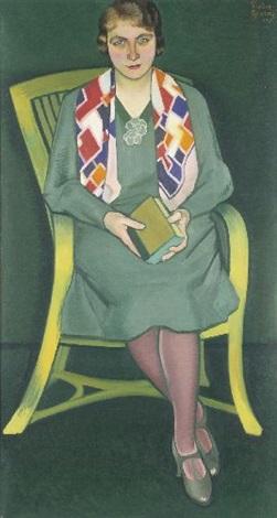 portrait einer dame im stuhl by heribert fischer geising