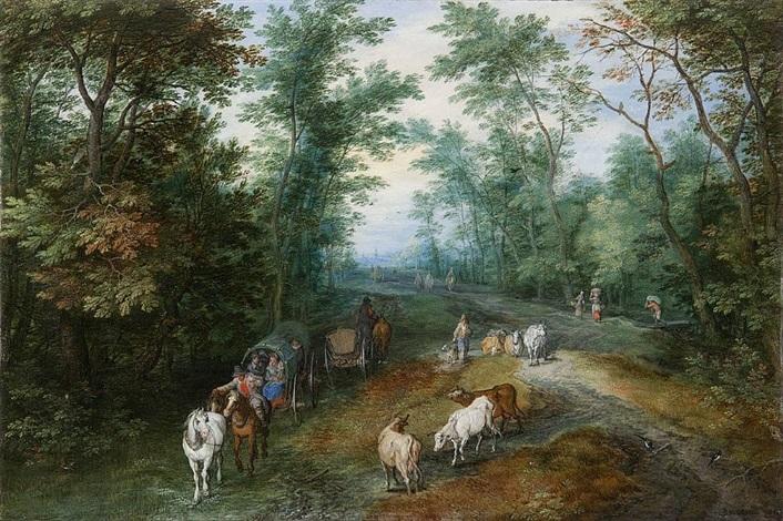 ジャンバプティストブリューゲルによって田舎道で旅行者と樹木が茂った風景