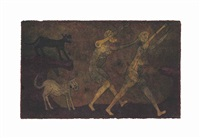 dos personajes atacados por perros by rufino tamayo