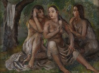 three figures, or three young women by bernard karfiol