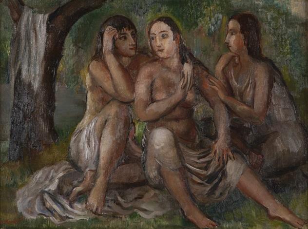 three figures or three young women by bernard karfiol