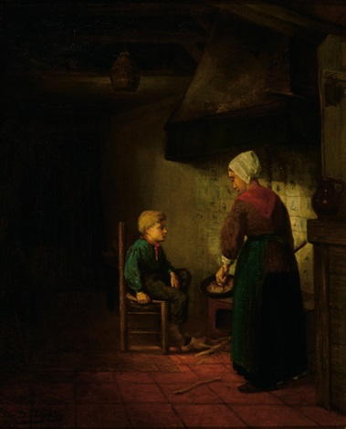 mother and child in a farm interior by david de la mar