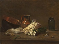 still life with bunches of white asparagus by philippe rousseau