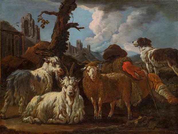 hirte mit ziegen schaf und hund by philipp peter roos