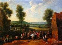 réjouissances villageoises près de l'abreuvoir by jean antoine de poorter