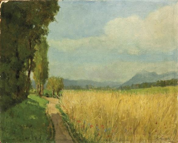 paesaggio con campo di grano by carlo musso