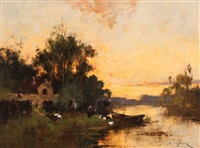 feeding ducks by the water's edge by eugène galien-laloue