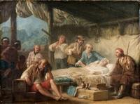 la mort de l'abbé chappe en californie entouré d'iguane et d'instruments scientifiques en présence d'amérindiens by alexandre jean noel