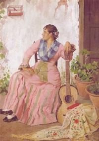 andaluza con guitarra by manuel arellano y campos