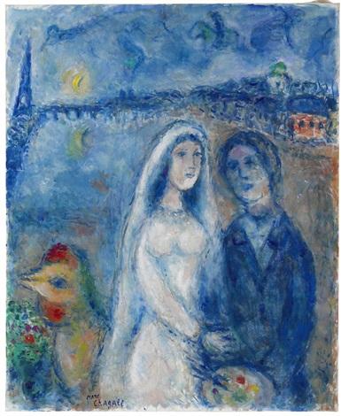 Les mariés sur fond de la Tour Eiffel by Marc Chagall on artnet