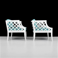 lounge chairs with latticework sides (pair) by grosfeld house