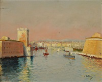 vue de port de marseille by louis nattero