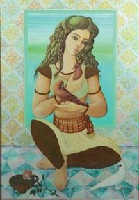 jeune femme aux colombes by jellal ben abdallah