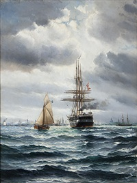 fregatten jylland anlöper köpenhamn, i fonden frederik v: s mastkran, vor frelsers kirke och marmorkirken by vilhelm victor bille
