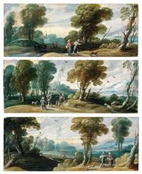scènes pastorales (décor de tiroirs de cabinet) (6 works) by jasper van der laanen