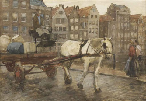 a horse drawn cart on the damrak amsterdam by george hendrik breitner
