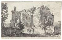 konvolut von fünf landschaften: landschaft mit einer ruine und einem lesenden kardinal (b.83) by herman van swanevelt