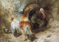 a turkey, hens and a pigeon in a farmyard by william huggins