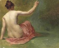 nude beauty in a garden by vlacho bukovac