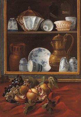 un piatto di frutta posto davanti una dispensa quasi in forma di trompeloeil contenente vasellame di vario tipo e liquori another similar pair by cristoforo munari